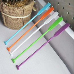 Wholesale Plastic Rod Stock - Quant shaped stirrer Creative bar coffee tea stirring rod Multi candy color PP muddler Free shipping
