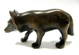 Wholesale Wood Wolf - 2-inch Hand Carved Boxwood Netsuke Bronze Tone Animated Walking Wolf Nice Pendant Collectible Gift for Home
