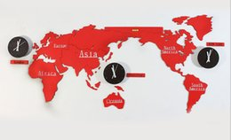Wholesale Dance Clock - Fashion Simple Style Home Furnishing Supplies World Map and Map and a series of red clock