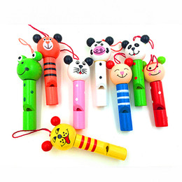 Wholesale Wooden Whistles Wholesale - Wholesale- Baby Kids Educational Wooden Toys Cartoon Animal Whistle Key chain Key Ring Wood Toy For Boys Girls Free Shipping