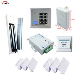Wholesale Card Id Door Lock - RFID Access Control System Kit Wooden Door Set+Eletric Magnetic Lock+ID Card Keytab+Power Supplier+Exit Button+DoorBell