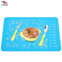 Wholesale Cartoon Babies Numbers - Wholesale- FINDKING 40x30cm Baby Kids Silicone Placemat Bar Mat cartoon animals with Numbers and letters Plate Mat Table Mat