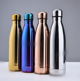 Wholesale Wholesale Bottled Drinking Water - Cola Bottle Water Cup Insulation Mug 500ML Vacuum Bottle Sports Stainless Steel Cola Bowling Shape Travel Mugs 4 Colors OOA1881