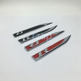 Wholesale 3d Leaves - 2Pcs R Logo Car Left Right Side Fender Skirts Knife Type Sticker Badges Emblems For VW Golf Gti Tiguan Polo CC Jetta
