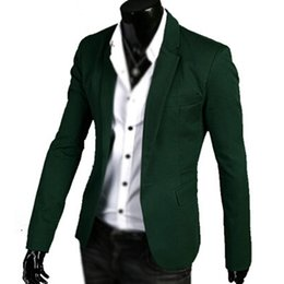 Wholesale Button Closures - Wholesale- 2017 NEW Mens Notched Lapel One Button Closure Casual Blazer Green