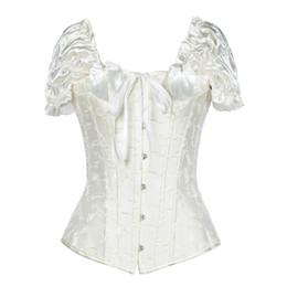 einteiliges lederkleid Rabatt Heißer Verkauf Sexy Stahl Knochen Burlesque Korsett Flügelärmeln Fashion Top Weiß Schwarz S-2XL