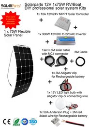 Wholesale Mppt Inverter - Solarparts 1x100W Professional DIY RV Boat Marine Kits Solar Home System 100W flexible solar panel MPPT controller Inverter LED
