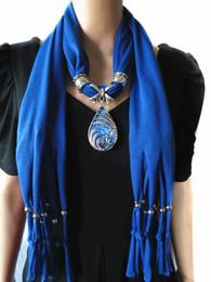 Wholesale Wholesale Fashion Scarf Pendant - 2017 boho big gem crystal Scarves Pendant Necklace Women Jewelry long Tassels multicolor collar choker Scarf cappa wholesale free shipping