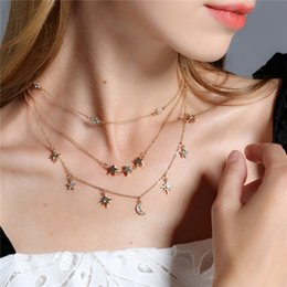 Wholesale Crystal Stainless Steel Collar - Fashion New Gold Color Rhinestone Crystal Moon Star Choker Necklace Multilayer Collar Chocker Necklace For Women