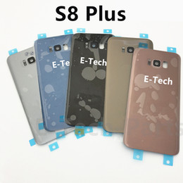 Wholesale Glass Lens Cover - Battery Door Back Cover Glass Housing with camera lens cover + Adhesive Sticker For Samsung Galaxy S7 S7 edge VS S8 S8 Plus 50PCS