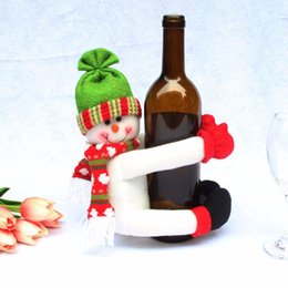 Wholesale Metal Craft Wine - Wholesale- Wine Bottle Holder Christmas Snowman Santa Claus 20x23cm Toys Ornaments Figurines Home Decorations Crafts Xmas Gifts