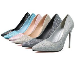 Wholesale Blue Crystal Pumps - Shallow mouth Crystal Wedding shoes Fashion Women High heels Elegant Pointed Toe Pumps escarpins femme Super High heel shoes