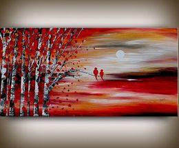 Wholesale Art Birch - Framed Abstract landscape painting tree art birch tree art love bird art decor Oil Painting Qn Canvas.Multi sizes,Free Shipping Ab078
