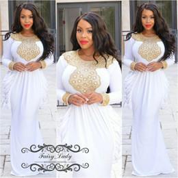Белое золото кафтан онлайн-2017 Саудовская Аравия плюс размер kaftan Пром платья с длинными рукавами Русалка золото бисером Кристалл Белый эластичный спандекс вечернее платье Платье