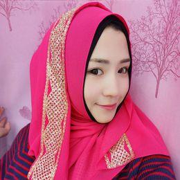 Wholesale Purple Glitter Scarf - New Desgin Muslim Women Summer Hijab Chiffon Headwear Glitter Scraf Islamic Hijab 8 Colors Muslim Scarves