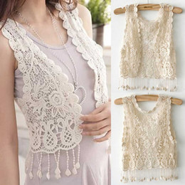 Wholesale Shrug Girl - Wholesale-Knitting Short sleeve Girl Crochet Tassel Shrug Top Gilet Waistcoat Cardigan UK