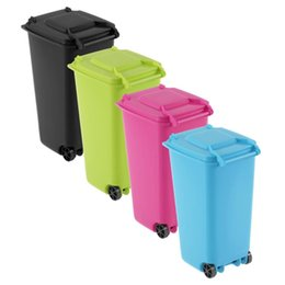 Wholesale Stationery Organiser - 1 pcs Mini Wheelie Bin Desk Tidy Office Desktop Stationery Organiser Pen Pencil Holder 4 Colors Drop Shipping