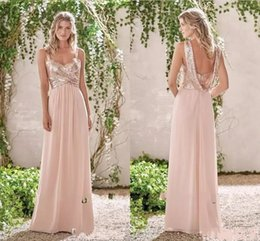 Wholesale Pink Coral Roses - 2017 Rose Gold Bridesmaid Dresses A Line Spaghetti Backless Sequins Chiffon Cheap Long Beach Wedding Guest Dress Maid of Honor Gowns