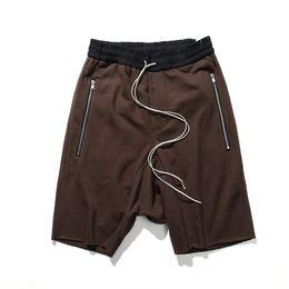 Wholesale Drop Hem - 2017 New Arrivals Justin Bieber Zipped Pocket Terry Shorts Ripped Raw Hem Drop-Crotch Sweatshorts Free Shipping