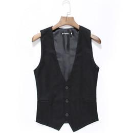 Wholesale Color Plus Formal Man Dress - Wholesale- M-3XL plus size 2016 new men's vest slim fit business gilet blazer masculino solid color dress vests for men formal suit HY820