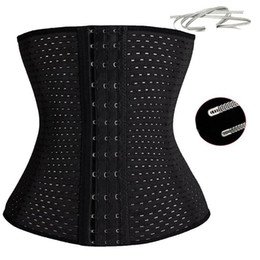 Wholesale Plus Size Corset Steel Belt - modeling strap slimming corset body shaper mesh waist training corset slim shaper 4pcs steel bones hollow corset belt girdle waist girdle