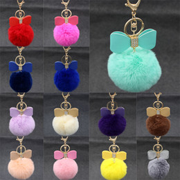 Wholesale Yellow Gold Purple Diamond Rings - 3.14 Inch Solid Color Rabbit Fur Ball Keychain Handbag Key Ring Car Key With Diamond Bowknot Christmas Gift 18 Color C131Q