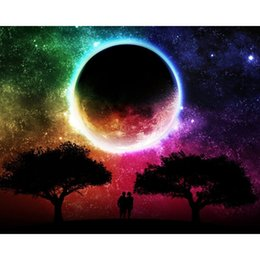 Wholesale moon painted wall - Night Moon 100% Full Drill DIY Diamond Painting Embroidery 5D Cross Stitch Crystal Square Home Bedroom Wall Decoration Decor Craft Gift