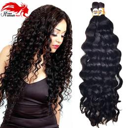 Wholesale Deep Wave Hair Braids - Hannah product Deep Wave Brazilian Human Hair for Braiding Bulk No Attachment, Natural 6pcs Bulk Hair Human Braiding Hair Bulk