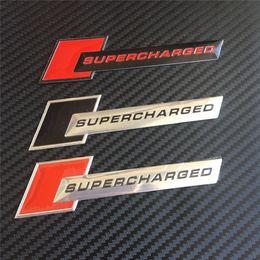Wholesale Chevrolet Car Stickers - Car Styling 100pcs Universal Aluminum Supercharged Emblem Badge Decoration Sticker Decals For Audi Chevrolet Volkswagen