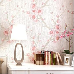Wholesale plum wallpaper - Wholesale-Modern Plum 3D stereoscopic television background wallpaper embossed wall paper woven wallpaper roll bedside study wall paper