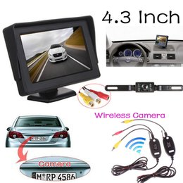 Wholesale Car Video Camera Parking System - 4.3 inch Auto Video Parking Reverse Display Monitor + Wireless Car Backup CCD Camera Rear View System Night Vision,Free Shipping