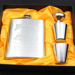 Wholesale Luxury Wine Set - Wholesale- Luxury Stainless Steel Hip Flask Set 7oz Embossed Flagon Flasks Russian Wine Beer Whiskey Bottle with Liquor Screw Cap + Funnel