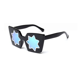 Wholesale Gift Wrapped Presents - Brand Girl Christmas Gift Cat Eye Sunglasses Vintage Unique Style Glasses Women Five-Pointed Star Sunglasses Dazzle Mirror Christmas Present