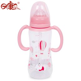 Wholesale Nail Animal Prints - Wholesale-Rikang RK-3069 240ml Cute Cartoon Print Nipple Feeding Bottle with Handles for Infant Babies