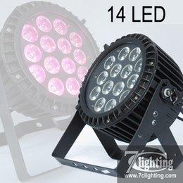 Wholesale Outdoor Led Dmx - 4Pcs Pack 14LED RGBWA+UV 6-in-1 LED Flat PAR Outdoor LED Projector 14x18W Parcan DMX Professional Lighting Equipment IP65