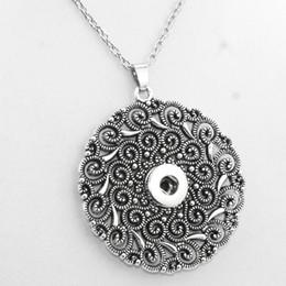 Wholesale direction necklace - 2016 Vintage Round 18mm Snap Button Necklaces Woman Bohemian Necklaces &Pendants Beads Women 'S Neck Ne415 One Direction