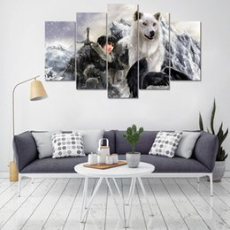 Modern Canvas Pictures Poster Prints Home Decor Wolf Painting 5 Panel Game Of Thrones Painting Living Room Wall Art Frame