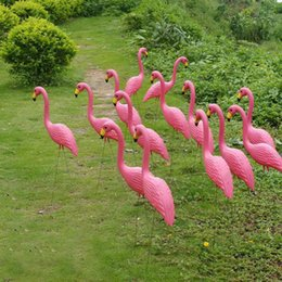 Wholesale Garden Wedding Ceremony - Plastic Bright Pink Simulation Flamingo Garden Yard and Lawn Art Ornament Wedding Party Ceremony Decoration 50*90cm Free shipping