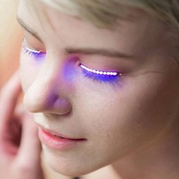 Wholesale led glowing eyes - Halloween Gift Glowing Eyes Nightclub Led Eyelash Light Double Eyelid Paste Luminous False Eyelash Lamp Button Led Eyelashes