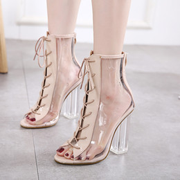 Wholesale Transparent Lace Fabric - Fashion Womens Sandals Sexy Transparent Peep Toe Lace Up Clear Block Chunky heels Ankle Bootie Sandals