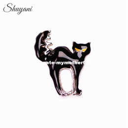 Wholesale Cat Charm Living Locket - 20pcs lot Newest Halloween Floating Locket Charms Black Cat Charms for Living Glass Locket Wholesale