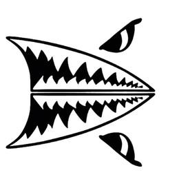 Decalques de carro de tubarão on-line-Mini Tubarão Dentes Grande Corpo Branco Tubarão Personalidade Decalques de Vinil Estilo Do Carro Adesivos de Carro Acessórios JDM