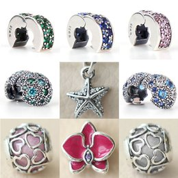 Wholesale Crystal Cross For Jewelry Making - 2017 Summer NEW Cosmic Stars, Multi-Colored Crystals CZ Clip Charm 925 Sterling Silver Jewelry Making For Women's Fashion Pandora Bracelet