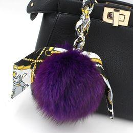 Wholesale Silk Backpacks - Free Shipping Fox Fur Silk Bowtie Bag Pendant Backpack Keychain Bag Accessory