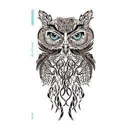 Wholesale tattoo stickers body for girl - Simple Blue Eye OWL Temporary Tattoo Stickers Temporary Body Art for Boys Girls Hot sale free ship