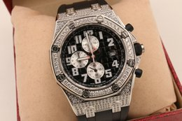 Wholesale Diamond Offshore - Luxury high quality mens watch diamond bezel brown noble leather band royal offshore os quartz movement stopwatch original clasp