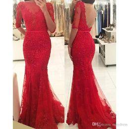 Wholesale Women Dressess - Red Lace Trumpet Prom Dressess Long 2017 Modest Half Sleeve Beaded Sheer Open Back Formal Women Evening Gowns Vestido Longo