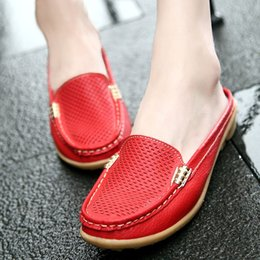Wholesale Wedges Heels Slippers - Leisure Slippers Genuine Leather Women Wedges Breathable Sandals Slip-On Round Toe Summer Shoes Woman Comfortable Sandals