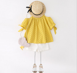 Wholesale Gilrs T Shirt - 2017 gilrs 2pcs set suits summer girls off-shoulder sleeves tops white yellow T shirts +girls shorts with lace belt girls set kids clothes