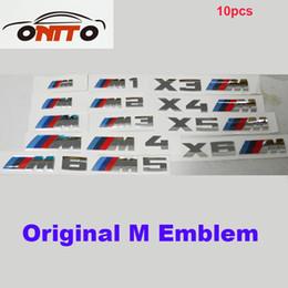 Wholesale Grill M3 - Wholesale 10pcs M XM power Motorsport Metal Logo auto emblem Car Sticker Rear Trunk Emblem Grill Badge for M1 M2 M3 M4 M5 M6 XM3 XM4 XM5
